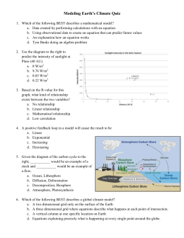 Modeling Earth`s Climate Quiz