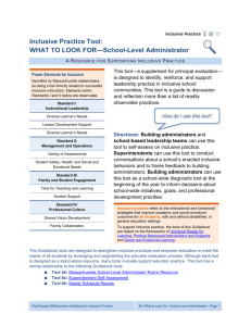 Inclusive Practice Tool: What to Look For*School