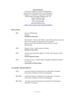 Prof. Beckman`s CV - Comparative and World Literature