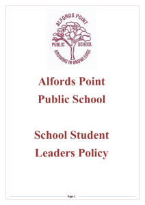 Student Leadership Policy - Alfords Point Public School