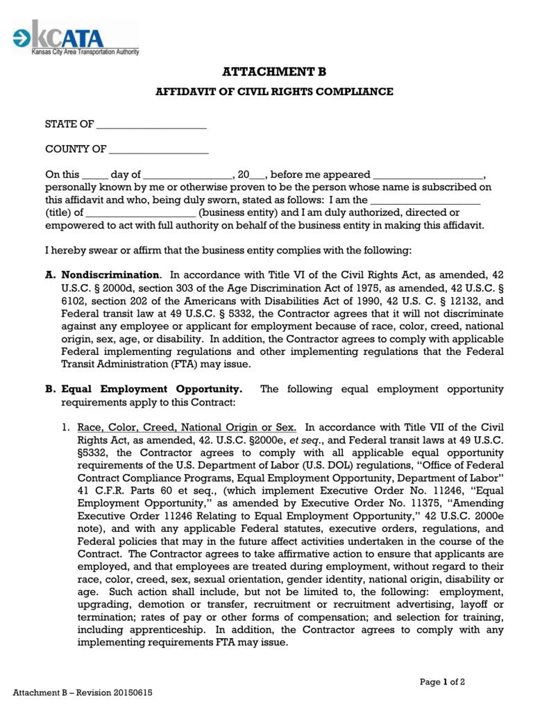 Attachment B - Affidavit of Civil Rights Compliance