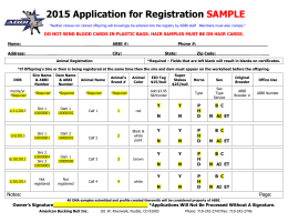2015 Registration Application SAMPLE