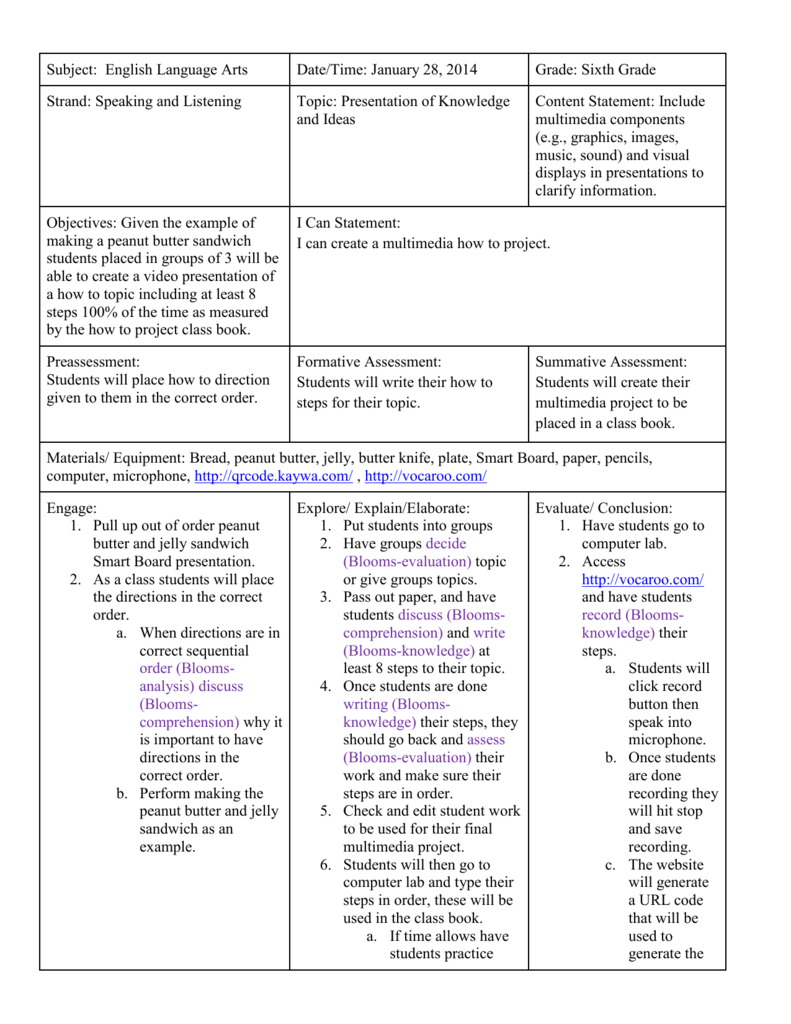 6th Grade Lesson Plan
