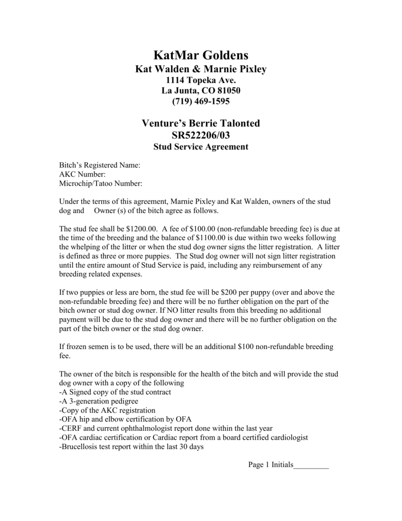 Stud Service Agreement - KatMar Golden Retrievers