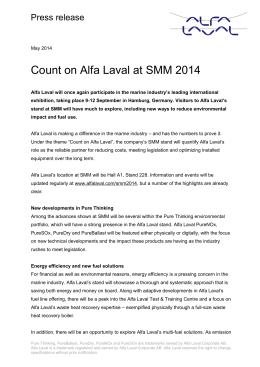 Visitors to SMM 2014 are invited to *Count on Alfa Laval*