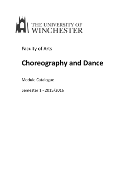 Choreography and Dance - University of Winchester