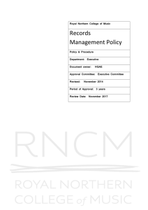 Royal Northern College of Music Records Management Policy