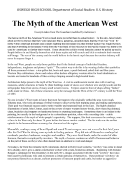 Myth of the West Reading