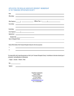 Application - Tennessee Orthopaedic Society