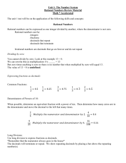 Rational Numbers Study Guide (Periods 2,7)