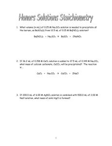 CP Chemistry * Stoichiometry Problems