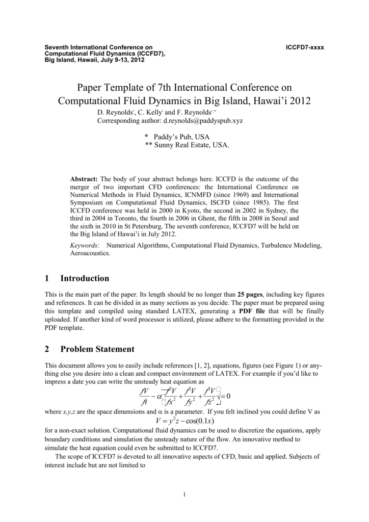 Abstract Template of Parallel CFD International Conference in