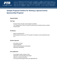 Sample Proposal Outline for Writing a Special Events Sponsorship