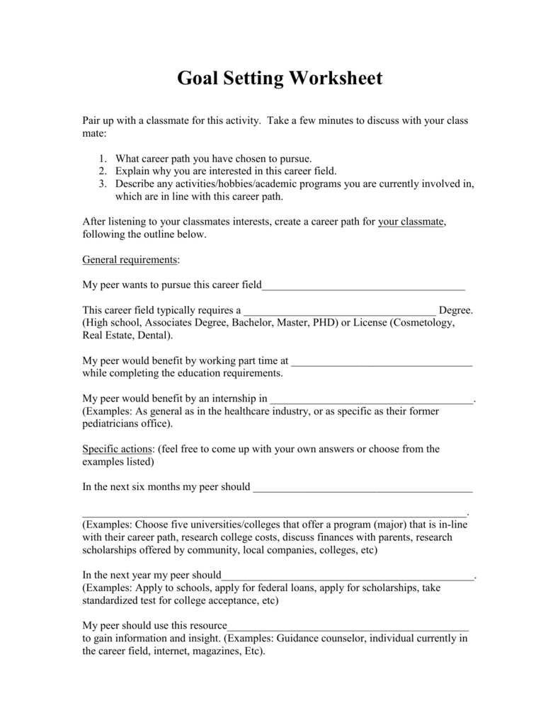 worksheet Career Path Worksheet goal setting and achievement worksheet