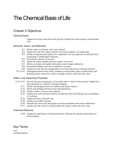 CH 2 objectives--The Chemical Basis of Life