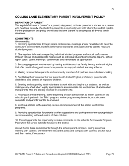 Chaperone for Parent involvement plan template