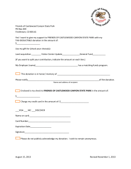 Friends Pledge and Donation Form - Friends of Castlewood Canyon