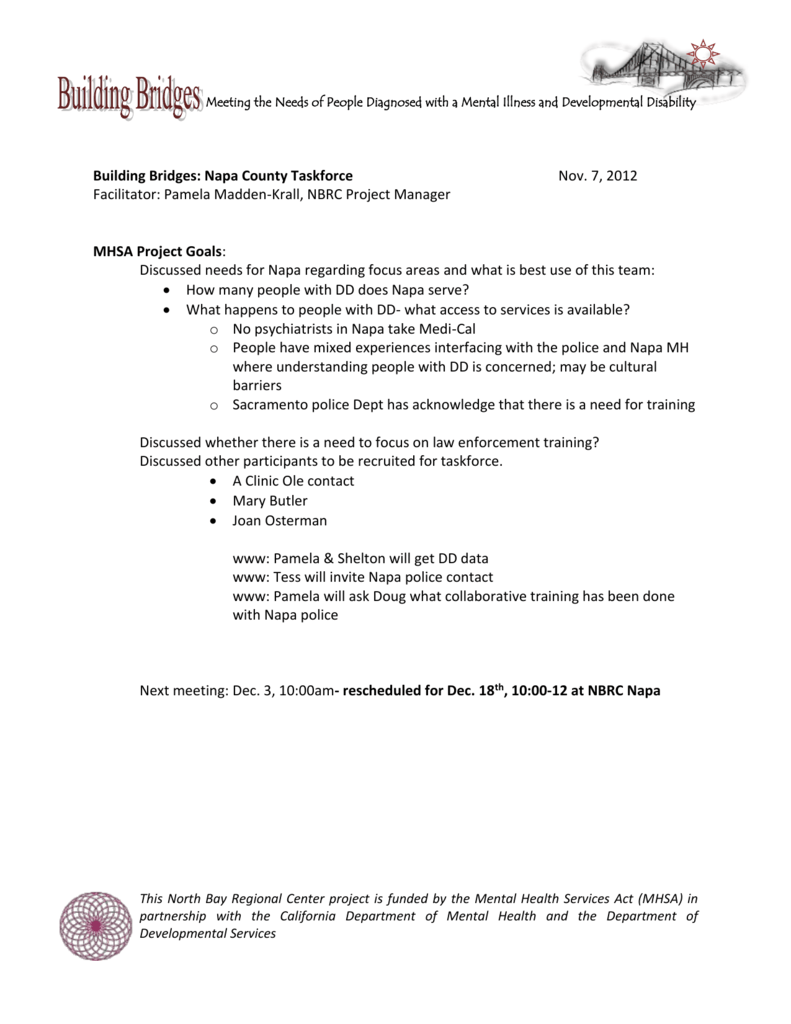Napa Taskforce Meeting Minutes