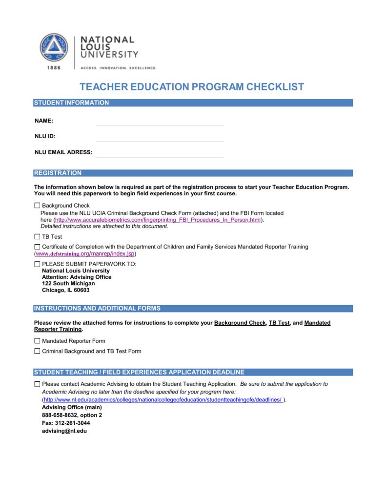 Teacher Education Program Checklist