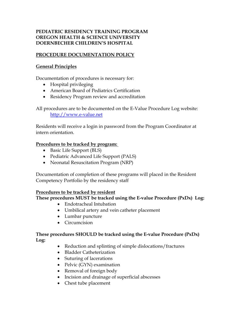 Procedures For Pediatric Residents