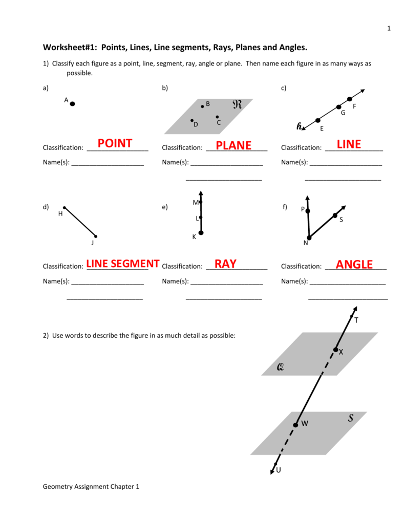 Worksheet1 points lines line segments rays planes and angles biocorpaavc Gallery