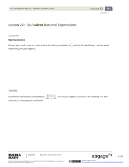 Lesson 22: Equivalent Rational Expressions
