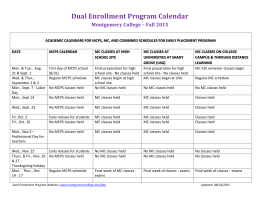 Dual Enrollment Program Calendar