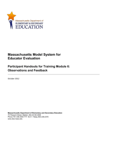 Module 6, Handout 6 - Massachusetts Department of Education