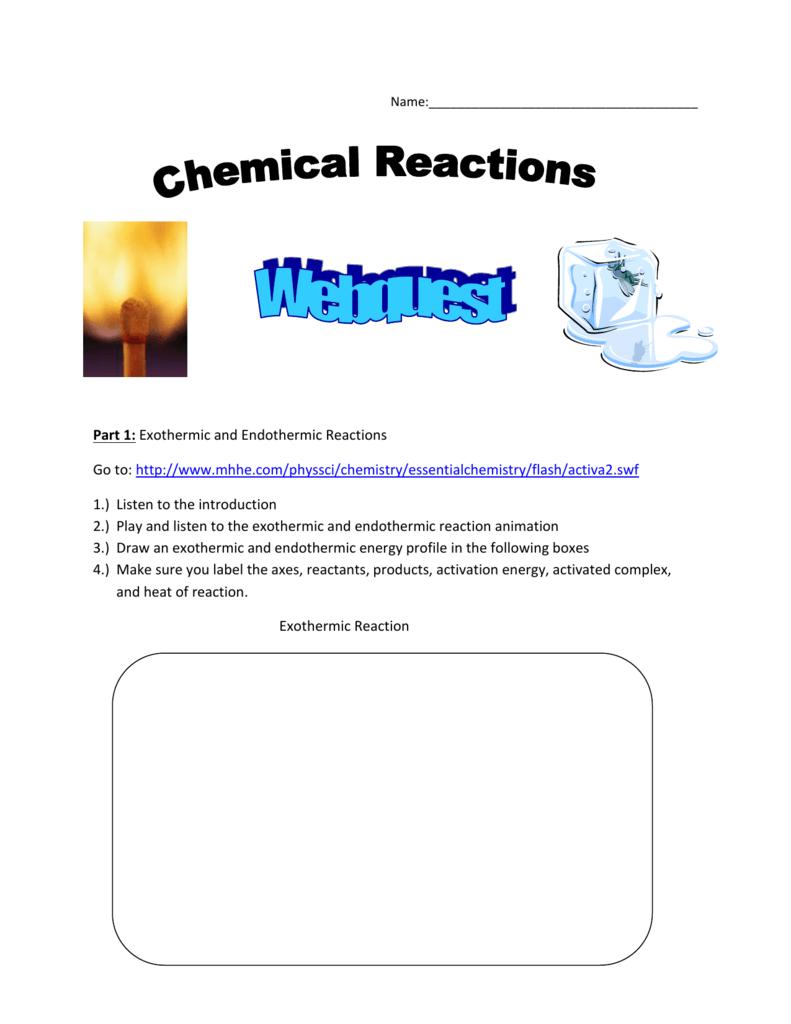 Chemical Reaction Webquest