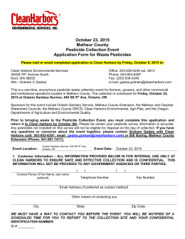 Waste Collection Event Application Form for Conditionally Exempt