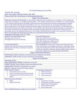 6th Grade Pathways Lesson Plan Teacher: Ms. Letzring Dates