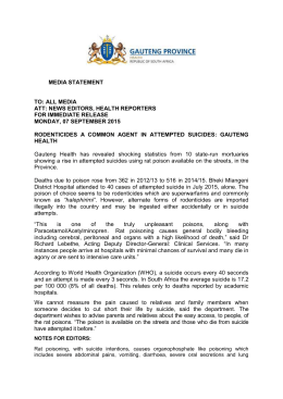 media statement - rodenticides a common agent in attempted suicides