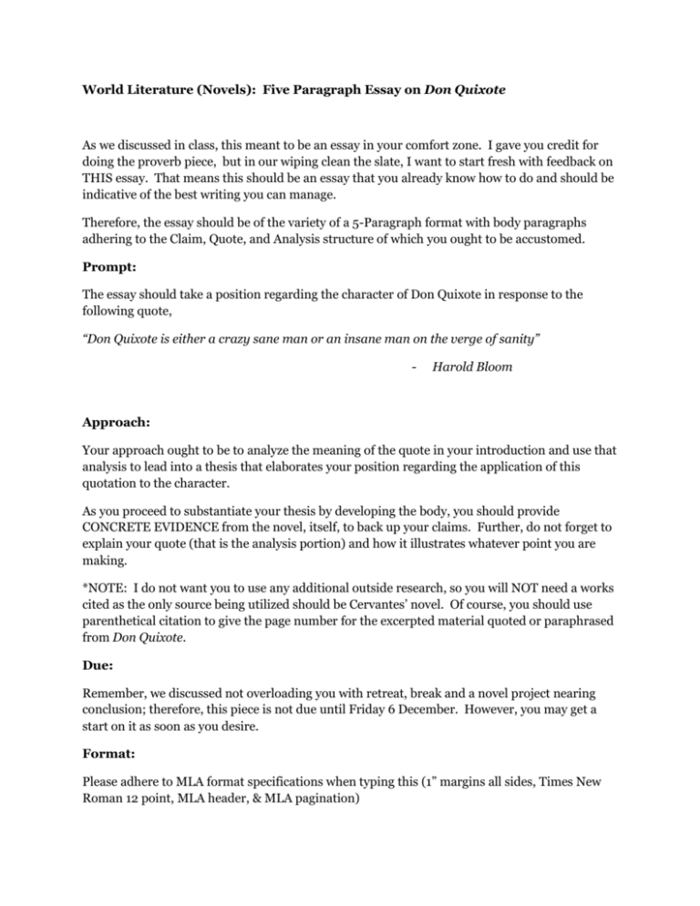 Don quixote research paper how to put an interview in an essay