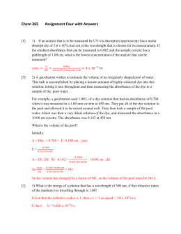 Chem 265 Assignment Four Answers