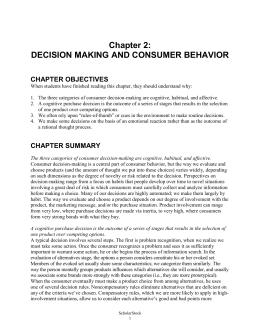 Chapter 2: DECISION MAKING AND CONSUMER