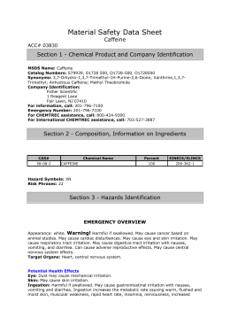 Material Safety Data Sheet Caffeine ACC# 03830 Section 1