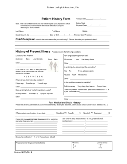 New Patient History Form - Eastern Urological Associates