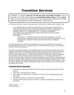 Transition Service Examples