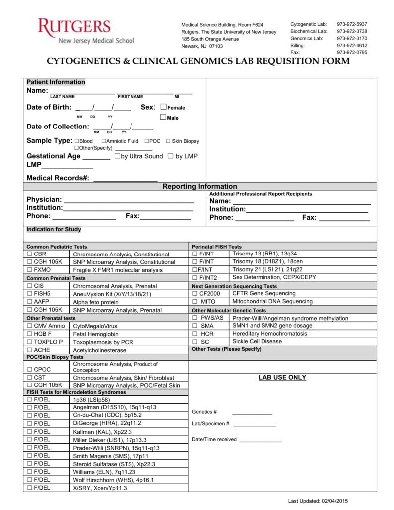 cytogenetics & clinical genomics lab requisition form