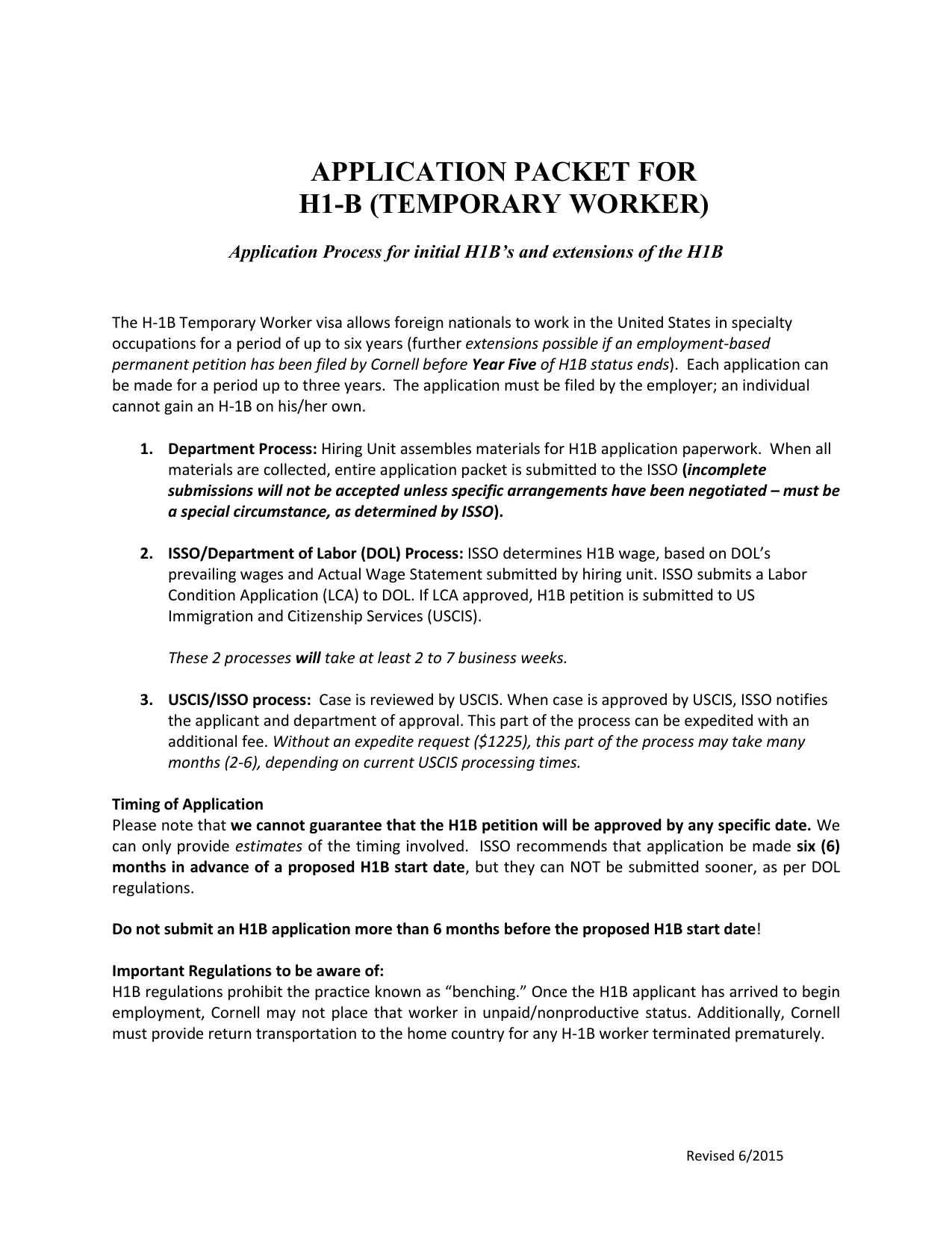 Application PACKET for - International Students and Scholars