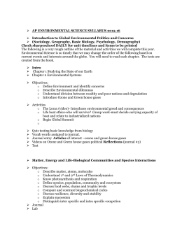 AP ENVIRONMENTAL SCIENCE SYLLABUS 2015