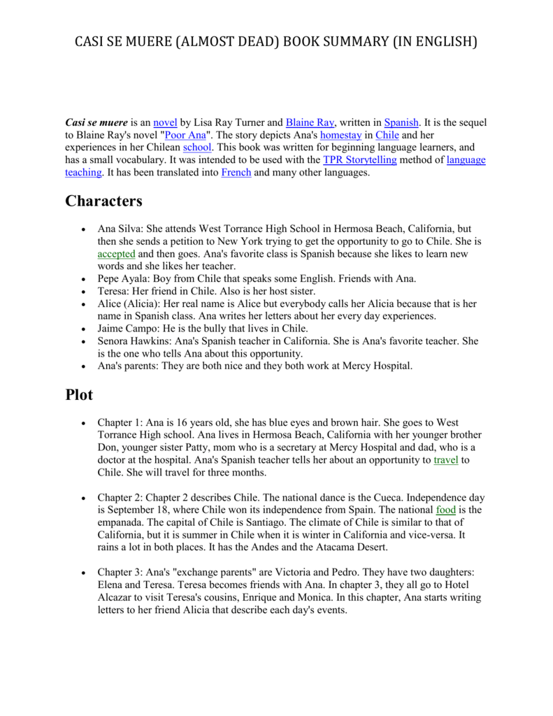 worksheet Pobre Ana Worksheets casi se muere almost dead book summary in english