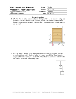 Worksheet 36 - Thermal Processes (Review