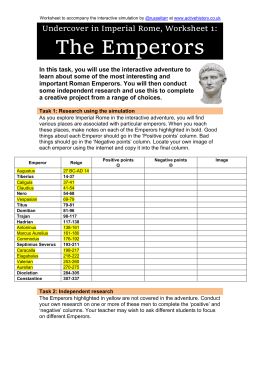 Worksheet 1: The Emperors