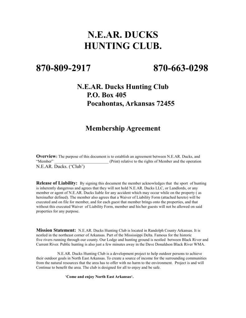 Membership Form - NEAR Ducks Club LLC