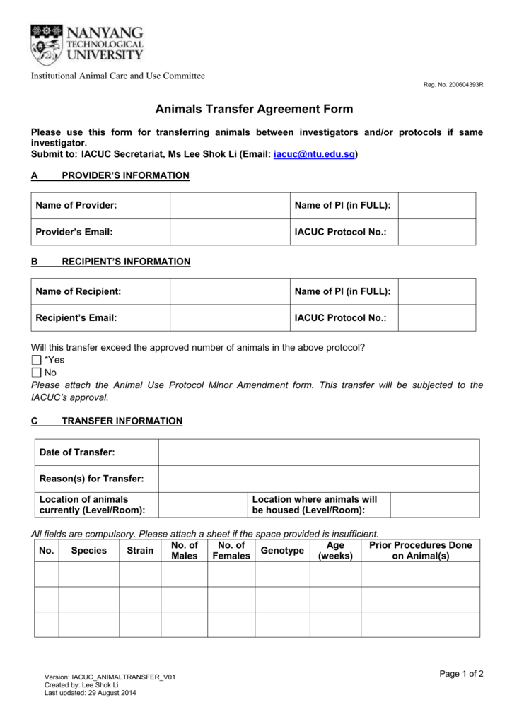 Iacuc Animals Transfer Agreement Form