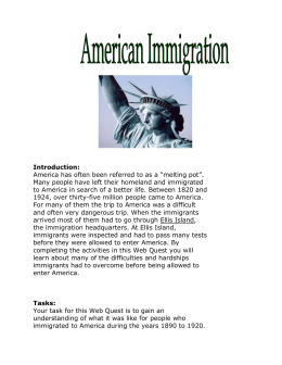 Immigration Webquest