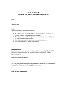 article review journal of theology sola experientia