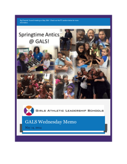 What`s Going on at GALS? - Girls Athletic Leadership Schools