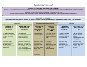 Sustainability Framework CORPORATE GREENHOUSE